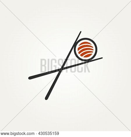 Isolated Sushi Seafood With Chopstick Minimalist Icon Flat Vector Template Design Illustration. Japa