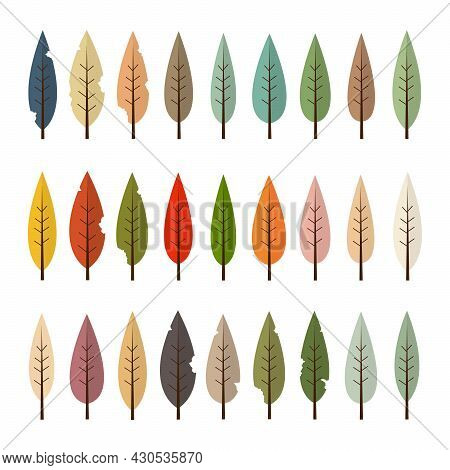 Set Of Colorful Autumn Leaves And Tree Isolated On White Background. Fall Leaf Yellow,green,orange,p