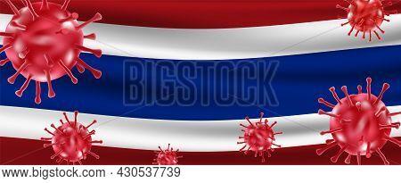 Covid-19 Virus Variant Outbreak Floating Over Flag Of Thailand. Vector