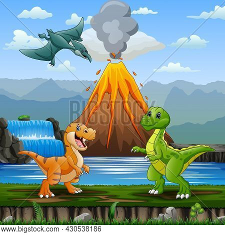 Cute Dinosaurs With Volcano Erupting Background Illustration