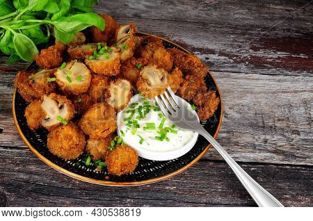 Whole Breaded Button Mushrooms With Soured Cream And Chive Dip