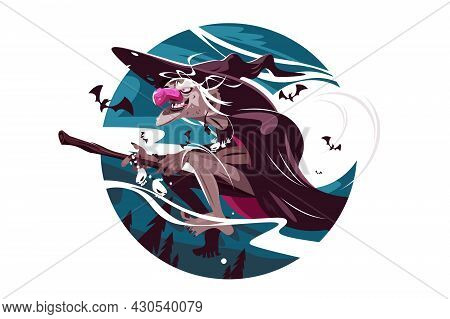 Scary Old Witch Vector Illustration. Witch Flying On Broomstick Flat Style. Moonlight And Bats. Hall