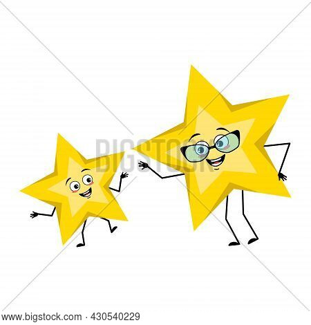 Cute Star Character With Joyful Emotions, Smile Face, Happy Eyes, Arms And Legs. Space And Weather S