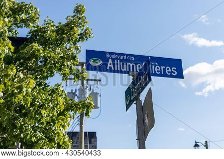 Allumettieres Boulevard And Champlain Street Sign At Crossroads In Gatineau City Of Quebec