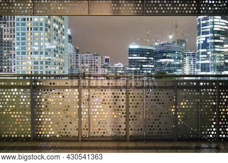 Warsaw night city panorama from terrace