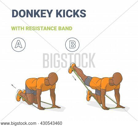 Black Man Doing Donkey Kick Home Workout Exercise With Thin Resistance Band Or Elastic Loop Guidance