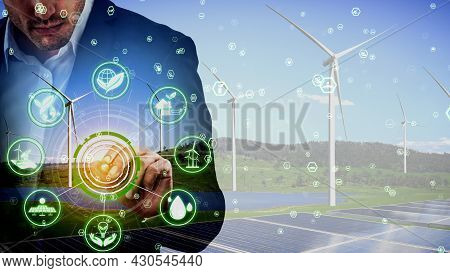 Conceptual Environmental Conservation And Sustainable Esg Development . 3d Render Computer Graphic .