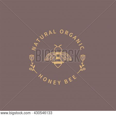Honey Bee Logo. Natural And Organic Ingredient For Food, Cosmetology. Template Design In Minimal Sty