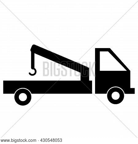 Tow Truck Icon On White Background. Construction Machine Sign. Wrecker Truck Symbol. Flat Style.