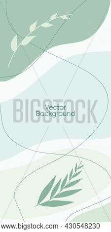 Abstract Minimal Vector Background For Stories. Abstract Organic Line Illuatrstion For Backdrop. Abs