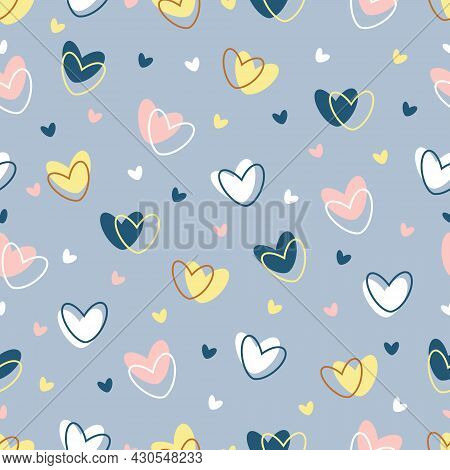 Hearts Seamless Pattern On A Blue Background. Vector Valentine Background. On The Solid-colored Hear