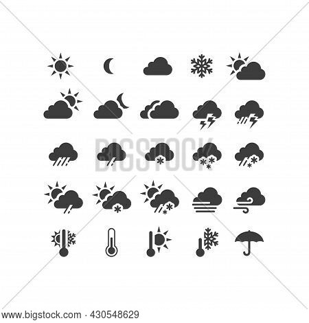 Weather Forecast Black Vector Icon Set. Stormy, Sunny, Rain, Snow Icons. Sun And Clouds, Hot And Col