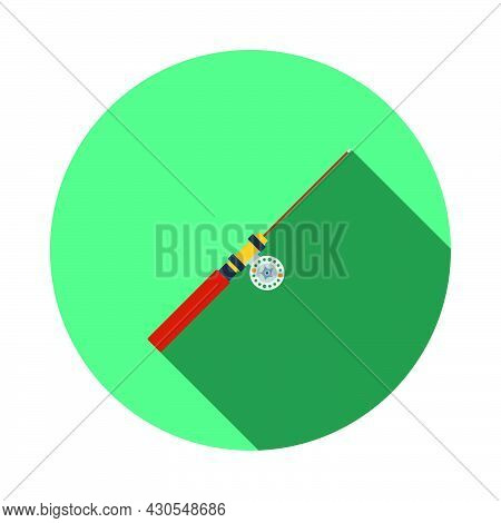 Icon Of Fishing Winter Tackle. Flat Circle Stencil Design With Long Shadow. Vector Illustration.