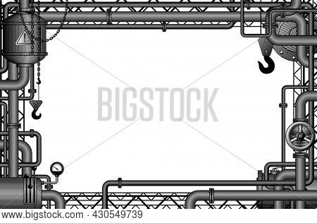 Engraved vintage drawing of industrial frame with gears, levers, pipes, flue and lifting crane. Symbol and metaphor of technology and industry