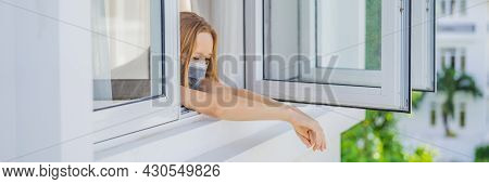 Banner, Long Format Extremly Tired Woman Looking Out The Window, Home Alone. Self-isolation At Home,