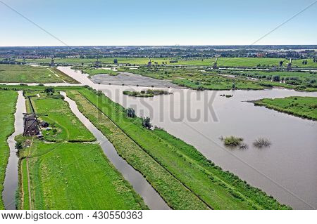 Aerial from the windmills at Kinderdijk in the Netherlands