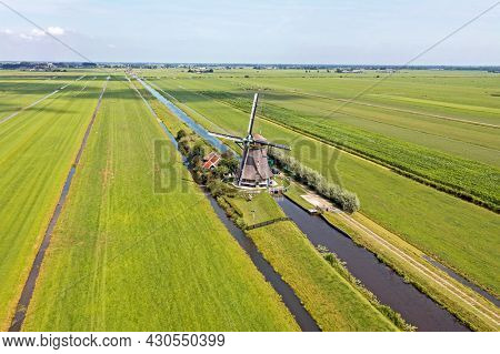 Aerial from one of four windmills of the Viermolengang, built in 1785 near Aarlanderveen in the Netherlands