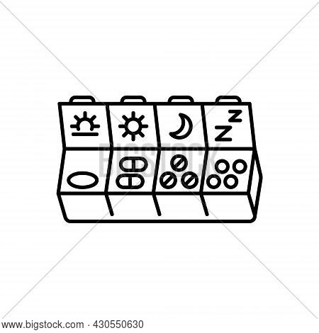 Pills Flat Icon. Pictogram For Web. Line Stroke. Isolated On White Background. Vector Eps10. Prepara