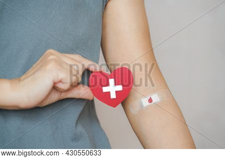 Senior Human Hand Holding Red Paper Heart Shape And Red Blood Drop Symbol On Bandage For World Blood