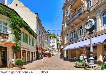 Baden-baden, Germany - July 2021: Old Historic City Center Of Spa Town Baden-baden On A Sunny Summer