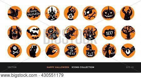 Set Of Vector Halloween Icons. Black Silhouettes Of Illustrations Of Halloween Design In Orange Circ