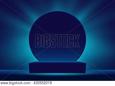 3d Realistic Dark Blue Podium With Illuminated Lighting And Glitter Minimal Scene And Circle Backdro
