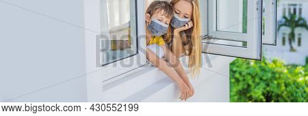 Banner, Long Format Extremly Tired Mother And Son Looking Out The Window, Home Alone. Self-isolation