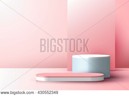 3d Realistic Pink Display Minimal Scene Background With Rectangle Backdrop On Podium Pedestal Stage