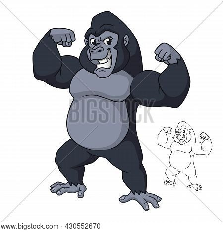 Strong Gorilla Standing Showing Arm Muscles With Line Art Drawing, Mammal Animal, Vector Character I