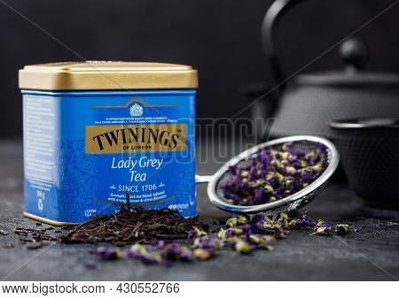 London, Uk - October 21, 2020: Steel Jar Of Twinings Lady Grey Loose Tea With Iron Teapot And Blue M
