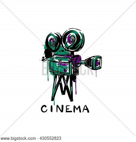Vintage Movie Camera Sketch On A White Isolated Background. Hand-drawn Vector Illustration.