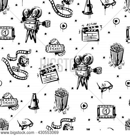 Cinema Sketch Is A Seamless Pattern On A White Isolated Background. Vintage Movie Camera, Popcorn, R