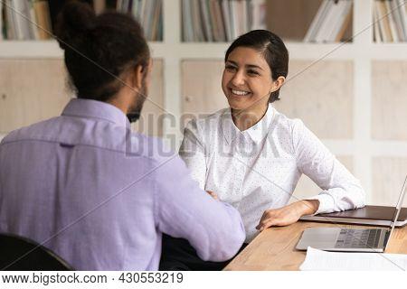 Happy Multi Racial Businesspeople Handshake Start Formal Meeting In Office