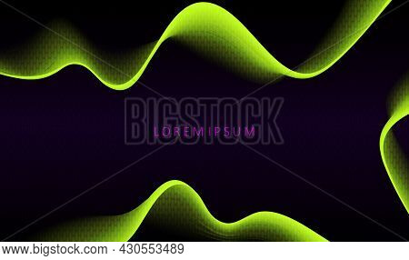 Abstract Black Background, Minimal Yellow Smooth Wave Patterns With Gradient
