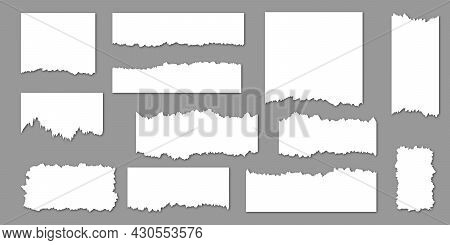 Set Of Torn Sheets Of Paper. Realistic Paper Scraps With Torn Edges. Vector Illustration Isolated On