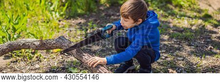 Banner, Long Format A Boy Scout Saws Tree Branches For A Fire In The Forest. Scout Camp. Preparing T