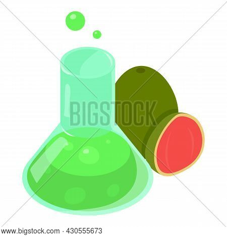 Organic Product Icon Isometric Vector. Transparent Laboratory Flask And Guava. Biotechnology, Hemica
