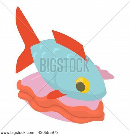 Seafood Icon Isometric Vector. Fresh Raw Fish And Oyster Shell Icon. Healthy Food Concept