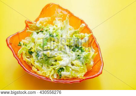 Delicious And Fresh Salad With Savoy Cabbage And Spring Greens In A Smooth Creamy Sauce