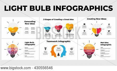 Creative Thinking Infographics. Presentation Slide Template. Generating Idea Light Bulb Layout. Huma