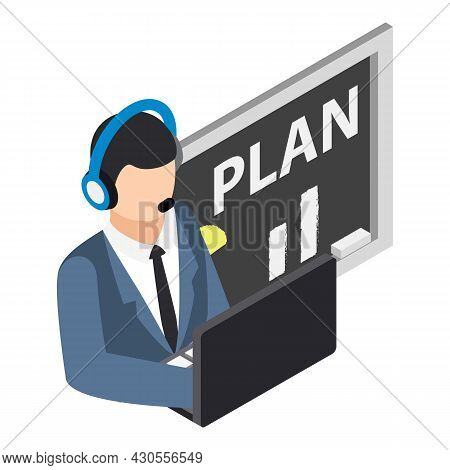 Video Conference Icon Isometric Vector. Man With Headset Front Of Computer. Video Work, Telemarketin
