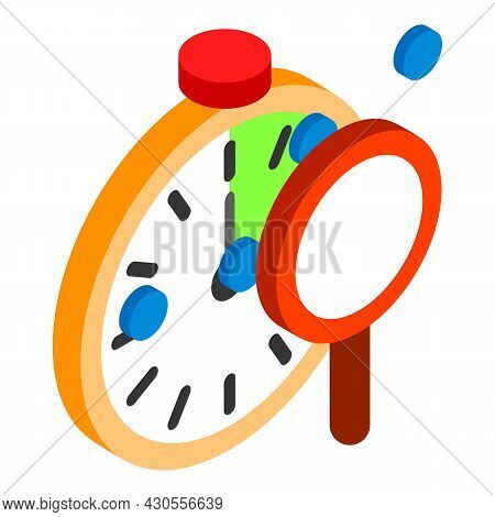 Search Optimization Icon Isometric Vector. Classic Stopwatch Timer And Magnifier. Search Engine Opti