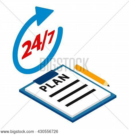 Action Plan Icon Isometric Vector. Clipboard, Planning Process Twenty Four Seven. Around Clock, Time