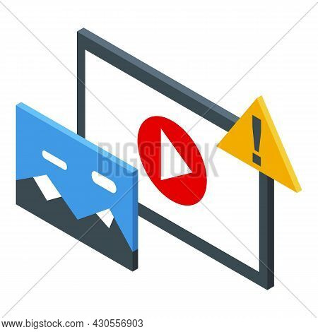 Anonymous Video Play Icon Isometric Vector. User Character. Video Anonymity