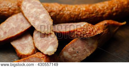 Traditional Polish Sausage Cut Into Slices, Typical Delicatessen Product From Eastern Europe