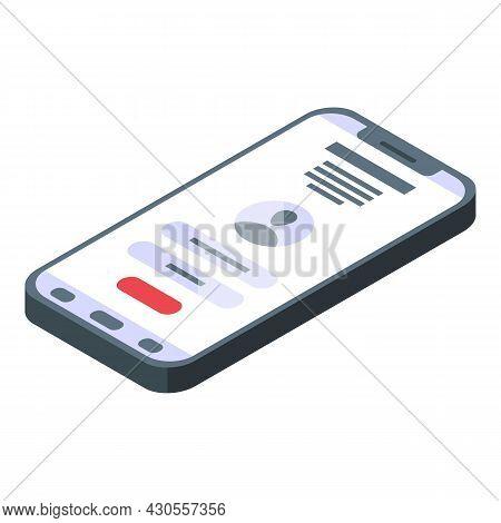 Smartphone Incognito Icon Isometric Vector. Phone Call. Mobile Espionage