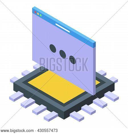 Code Processor Icon Isometric Vector. Computer Science. Semiconductor Cpu