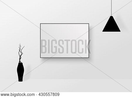 Room Interior With Mockup Poster, Vase And Lamp.  Decorative Accessories For Modern Interior On Whit