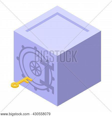 Bank Reserves Safe Icon Isometric Vector. Money Wealth. Online Deposit