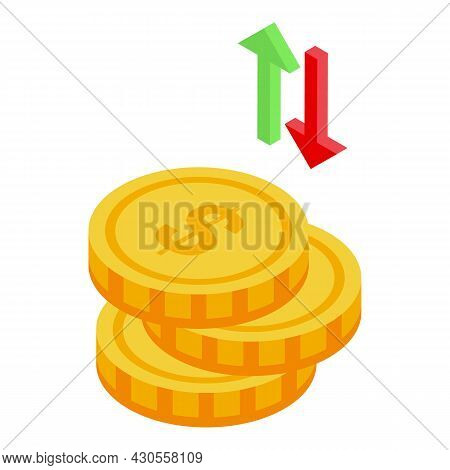 Coin Rise Icon Isometric Vector. Money Stack. Pile Graph